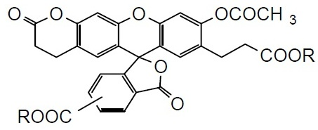 BCECF-AM BCECF-AM, 3-O-Acetyl-2,7-bis(carboxyethyl)-4 or 5-carboxyfluorescein, diacetoxymethyl ester [CAS:117464-70-7]